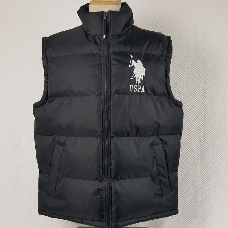 US Polo Assn Mens Puffer Vest USPA Big Large Polo Pony Ponies Black Size Medium #USPoloAssn #PufferVest