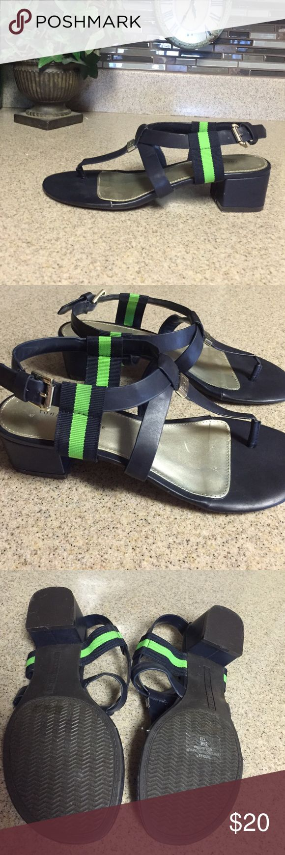"Tommy Hilfiger Sandals These are gorgeous sandals by Tommy Hilfiger. Navy blue with the iconic green stripe. 2"" heels. There is a small crease in the left shoe where it bends at the toe. Not noticeable when worn. Size 8.5 Tommy Hilfiger Shoes Sandals"