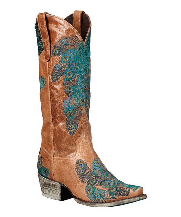 boots brown teal peacock feather cowboy boot