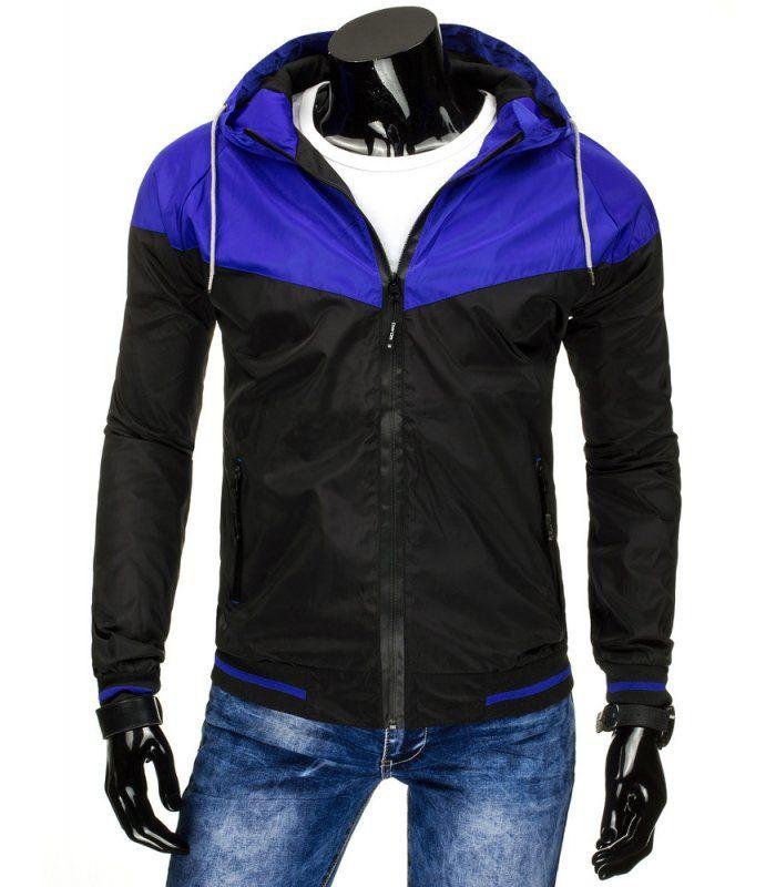Čierna prechodná pánska bunda s kapucňou. Zapínanie na lesklý zips. Dve vonkajšie vrecká so zipsom. Kapucňa regulovaná šnúrkou. Dolná časť a rukávy zakončené lemom. Pohodlný strih. Vhodné na celodenné nosenie.