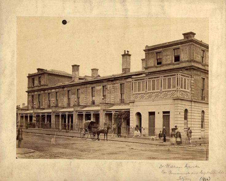 Royal Terrace 39-41 Brunswick Street with Dr. William Crookes surgery on the corner of Brunswick and Gertrude Streets Fitzroy-1866