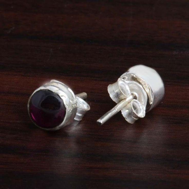 Garnet SOLID 925 STERLING SILVER POPULAR TOPS EARRING 0.90g DJER4119 #Handmade #EARRING