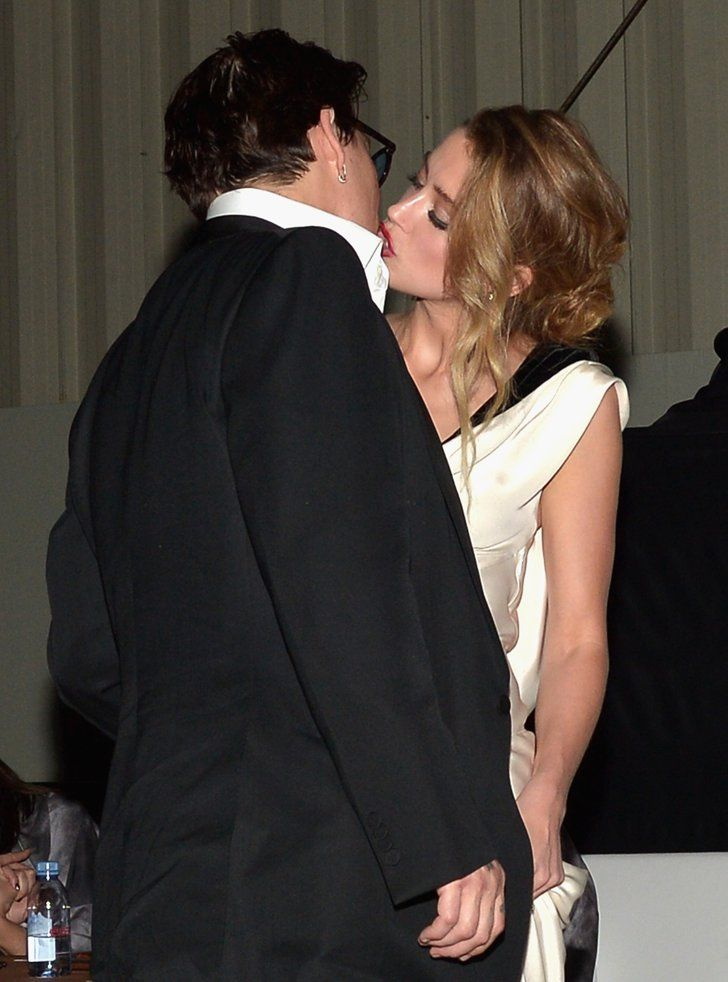 Pin for Later: Love Is in the Air: Cute Celebrities Kissing and Hugging Johnny Depp and Amber Heard