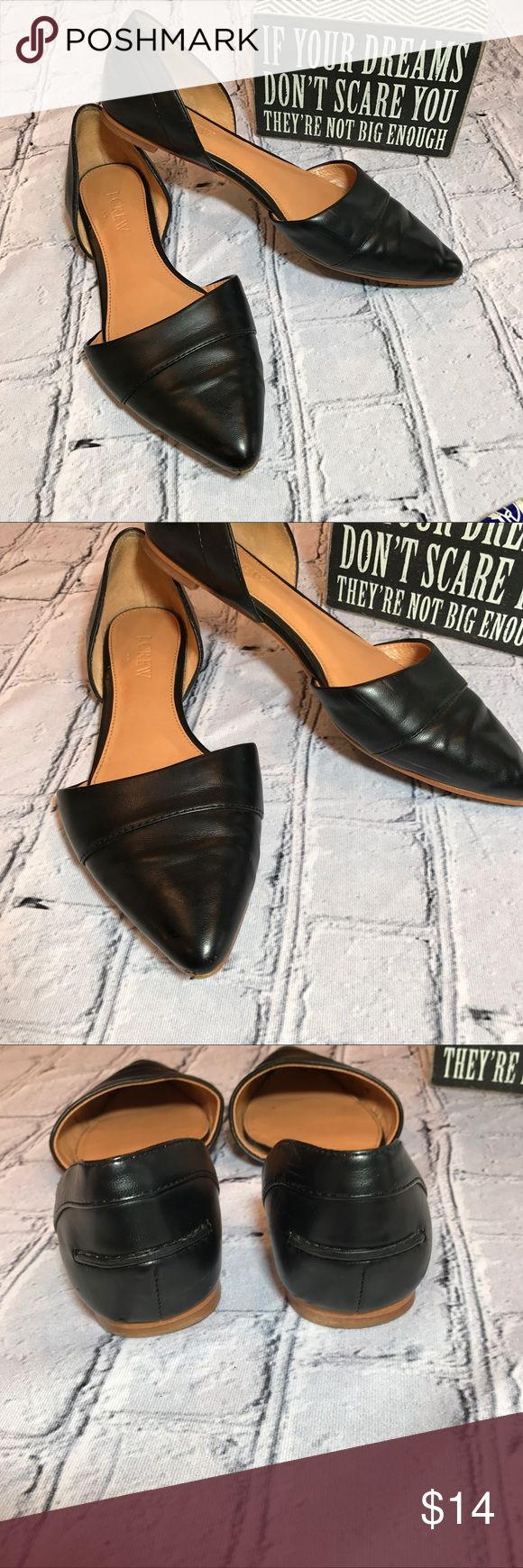 J.Crew black leather flats Black leather J.crew flats. Size 6 Great condition. Cute and stylish bin 11 J.Crew Shoes Flats & Loafers
