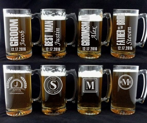 Wedding Gift Beer Mugs : of 10 Beer Mugs for Groomsmen, Monogrammed Wedding Party Gifts Beer ...