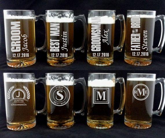 of 10 Beer Mugs for Groomsmen, Monogrammed Wedding Party Gifts Beer ...