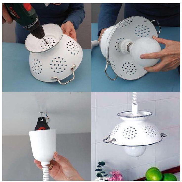 lampara reciclando colador ingenioso