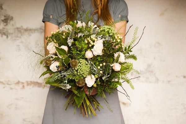 A rambling wild bunch inspired by the English hedgerow, made from soft whites, shades of green and seed heads.