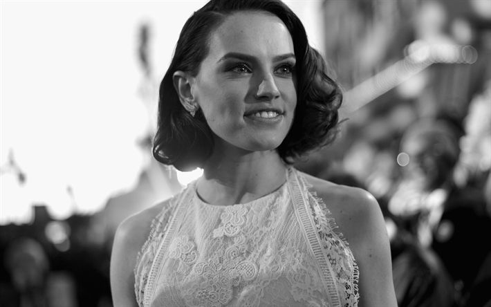 Download wallpapers 4k, Daisy Ridley, 2018, beauty, monochrome, Hollywood, english actress