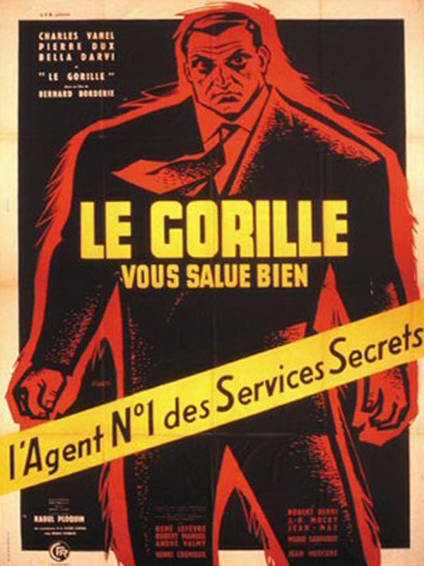 Le Gorille vous salue bien est un film policier français réalisé par Bernard Borderie, sorti en 1958. En 1957, Géo Paquet alias le Gorille, est le meilleur agent des services secrets français. Son supérieur, le colonel Berthomieu le charge de démanteler un réseau d'espionnage. Très vite, les soupçons de Géo se portent sur un de ses anciens collègues cependant celui-est tué au cours d'une intervention. Heureusement, l'agent secret a pu au moins obtenir le nom du chef de ce réseau mafieux,