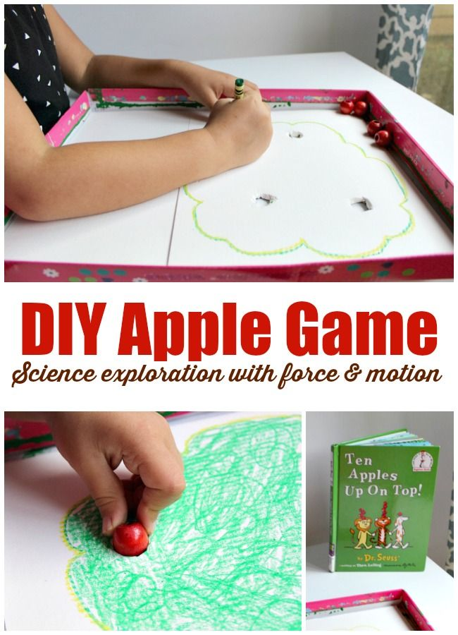 DIY apple game to explore force and motion science with preschoolers. Create this playful game using items from around your house.  PLUS tons of other apple themed activities for kids with our favorite books to go along with them including our featured book Ten Apples Up On Top by Dr. Seuss.