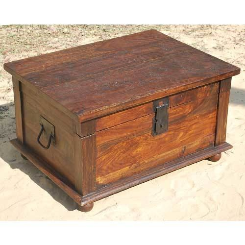 Distressed Rustic Solid Wood Storage Box Trunk Coffee Table W Wrought Iron New