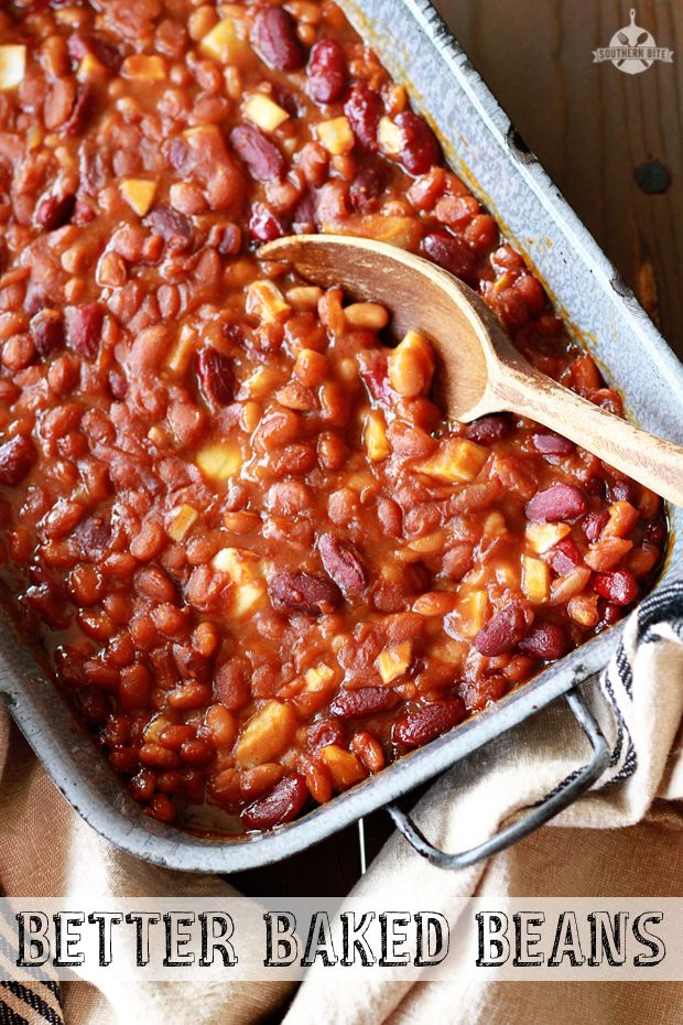 Better Baked Beans recipes from Southern Bite- Great way to jazz up canned baked beans!