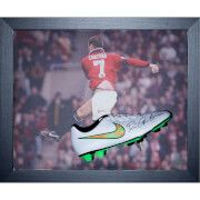 #All Star Signings Eric Cantona Signed and Framed Boot with Domed #A hugely talented player and a Man Utd legend, Eric Cantona helped Manchester United lift four Premier League trophies during his five seasons at Old Trafford. Affectionately nicknamed by Manchester United fans as œKing Eric, Cantona is often regarded as having a key role in the revival of Man Utd as a footballing giant in the 1990s. The Nike football boot is personally signed by Eric Cantona in a signing session carried out…