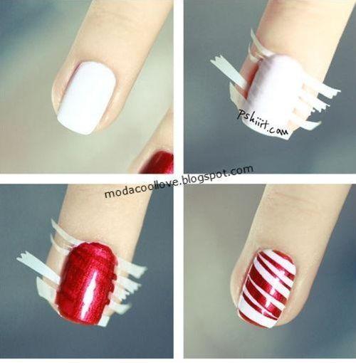 A tasteful theme nail for Christmas. You could paint four fingers red and just one in this semi-candy cane stripe.