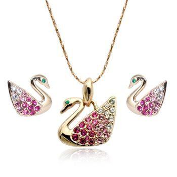 Rigant украшения прекрасный лебедь горный хрусталь ожерелье и серьги комплект для подростков