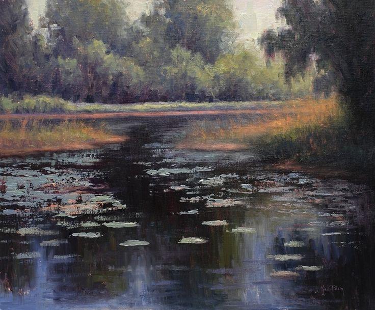 Размышления на пруд с лилиями по Ками Mendlik масло ~ 20 х 24