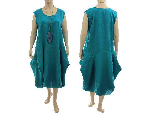 Boho linen maxi dress pinafore summer dress in teal von classydress