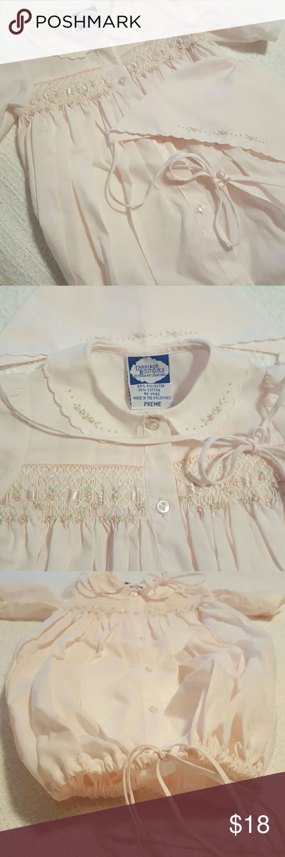 Vintage baby sack dress with cap EUC pale pink with embroidery, vintage sack dress with cap, size says preemie but runs big. carriage boutiques Matching Sets