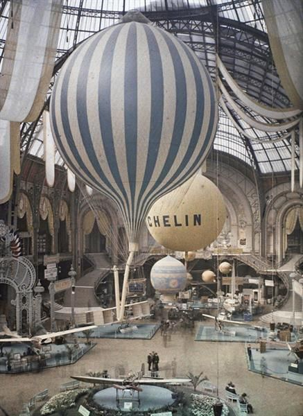 The first air show at the Grand Palais in Paris, France. September 30th, 1909. Photographed in Autochrome Lumière by Léon Gimpel.