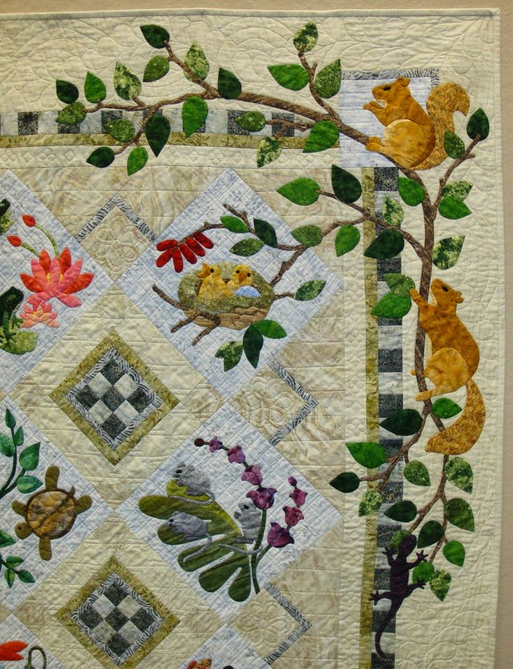 """detail, """"Forest Galorest"""" by Judy Pustelak. Design by Karen Brow. 2015 Sauder Village Quilt Show; photo by Fabric Therapy."""