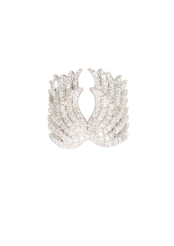 Elise Dray Rings :: Elise Dray white gold and grey diamonds Wings phalanx ring   Montaigne Market