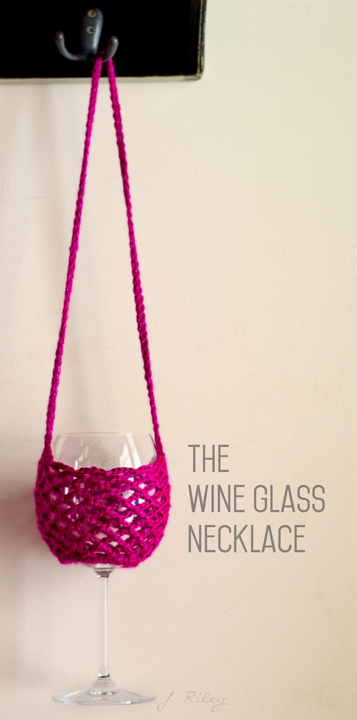Wine Glass Necklace - Adapted from FREE pattern found here:  http://hookedbyheidi.blogspot.com/2014/07/crochet-wine-glass-holder-with-neck.html