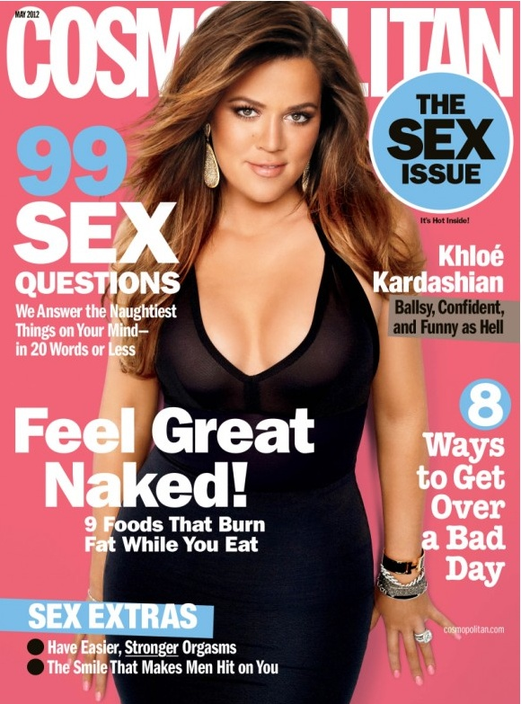 Who made Khloe Kardashian's black dress that she wore on the cover of Cosmopolitan magazine?