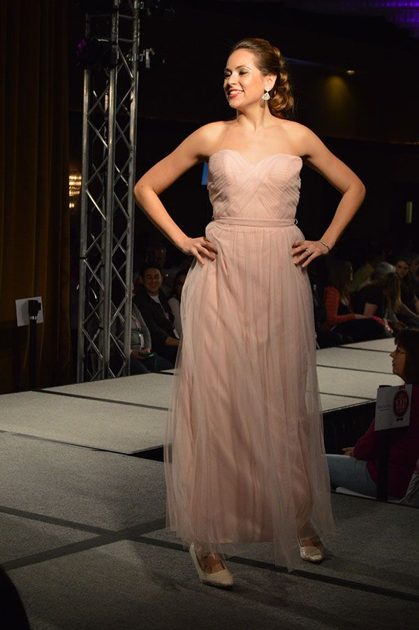 Fancy American Commodore Dress Shoppe blush pink bridesmaid dress as seen at the Today us Bride Fashion Show