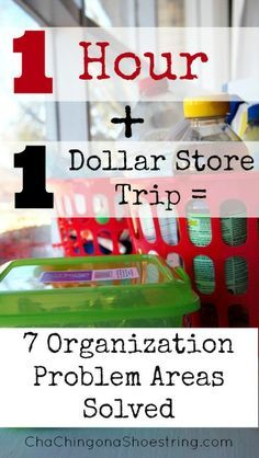 Dollar Store Organization in One Hour - how I solved SEVEN problem areas. Awesome organizing tips for busy people!
