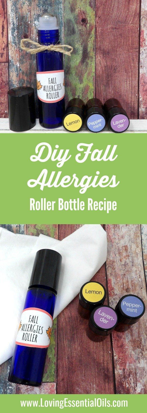 DIY Recipe - My favorite essential oils for fall allergies include lavender, peppermint and lemon. This blend of oils can help relieve the congestion, stuffiness, itchiness and sniffles that occurs from changing seasons. #fallallergies #essentialoils #diyrecipe