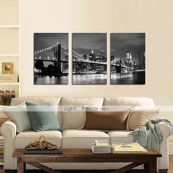 star®black visual e branco impressão London Bridge lona esticada famoso arte moderna parede pronto para pendurar de 4246137 2016 por R$263,61