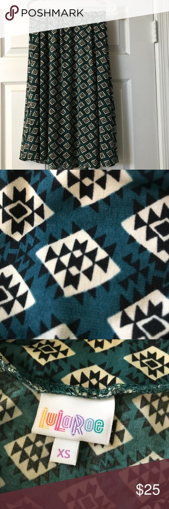 LuLaRoe Maxi LuLaRoe Maxi - dark teal with white and black patterned design.  Used but excellent condiiton. LuLaRoe Skirts