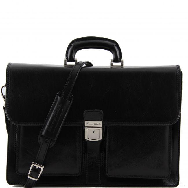 Zwarte Italiaanse leren aktentas / business tas.De buitenkant van de tas is echt kalfsleer. Deze aktentas heeft een zachte structuur.Deze aktentas heeft 2 voorvakken met ritssluiting,  -