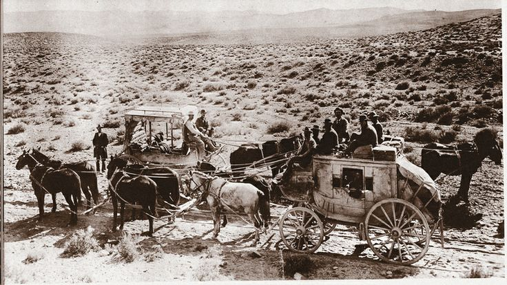 Nevada s Tonopah to Sodaville stages meet on the road, circa 1903, for a rare respite. The iron engine would soon take their place as the next year, a 60-mile railroad connected Tonopah with the Carson and Colorado branch of the Southern Pacific Railroad at the Sodaville junction. The railroad would become known as the Tonopah and Goldfield Railroad.: