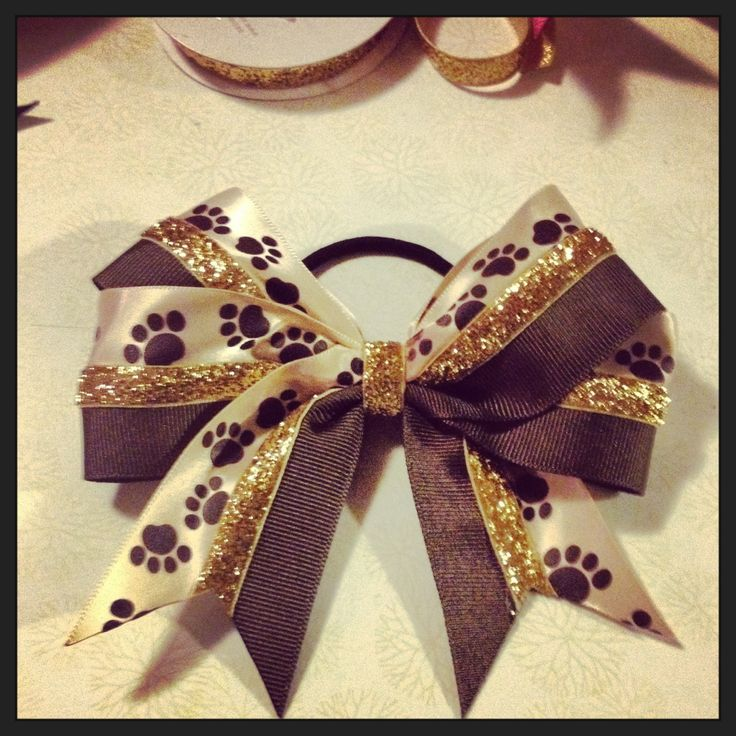 DIY hair bow!! Kennedy Cougars High school colors!!