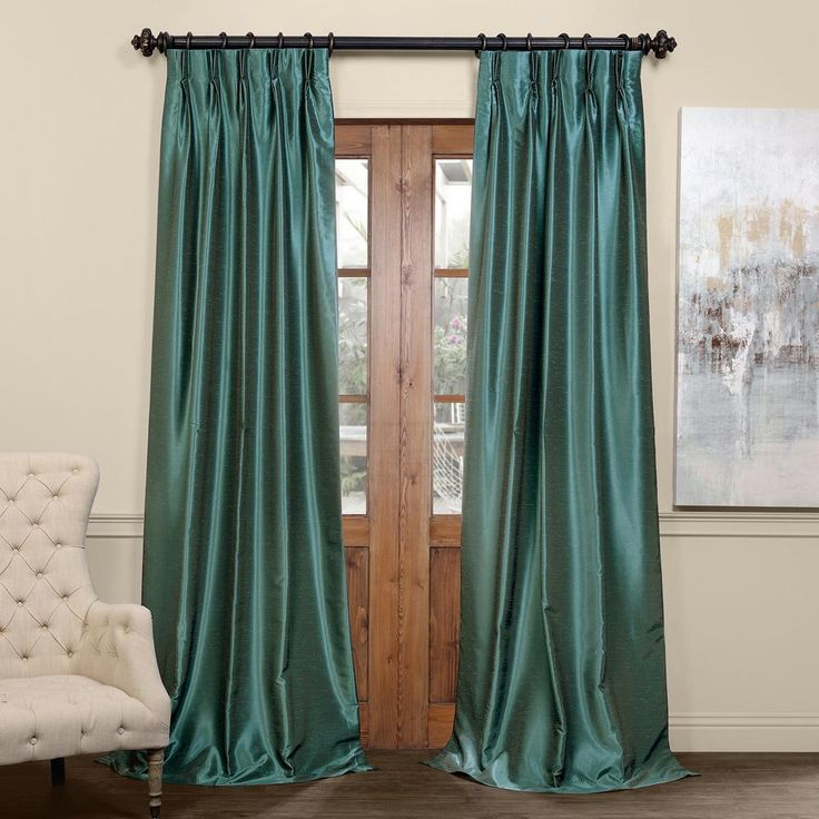 Exclusive Fabrics & Furnishings Peacock Blue Blackout Vintage Textured Faux Dupioni Pleated Curtain – 25 in. W x 108 in. L-PDCH-K14BO108-F