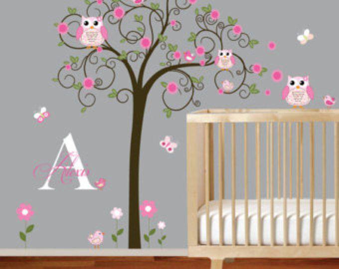 Decalcomanie da muro su vinile Wall Decal Nursery, bambini parete decalcomania, Baby Girl Wall Decal, Nursery Wall Art, Wall Decals vivaio