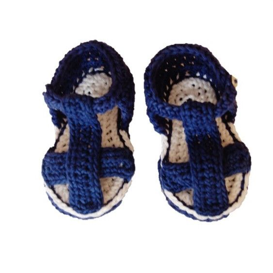 BENJAMIN SANDALS. Crocheted sandals in navy and white. Made using 100% natural cotton. Sizes: 0-6m, 6-12m #olivebyclare