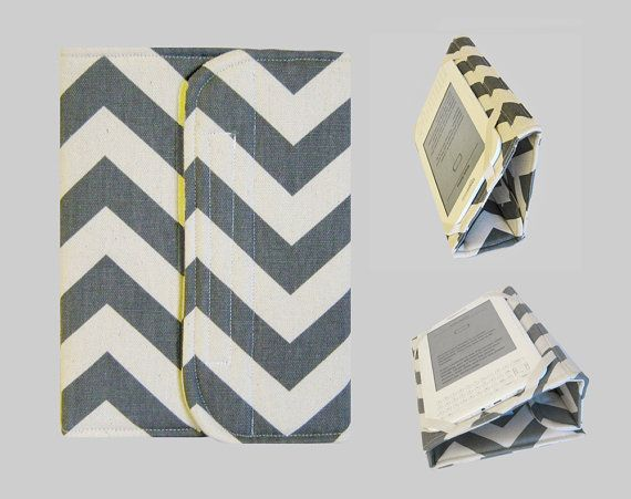 Standable Kindle Cover, Kindle Fire Case, Nook Cover, Kobo Case, Nexus 7 Cover, Kindle Fire HDX, iPad Mini, Dell Venue Chevron Grey on Etsy, $39.00
