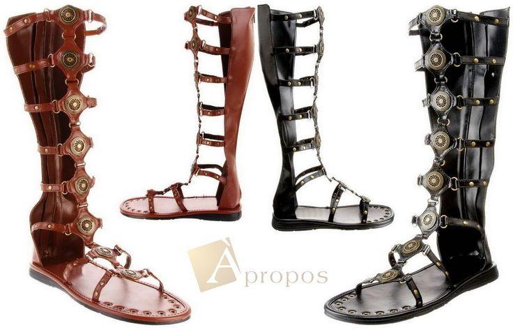 High Heel Sandale Damen Flats Elegant Römer Gladiator Braun Schwarz Apropos