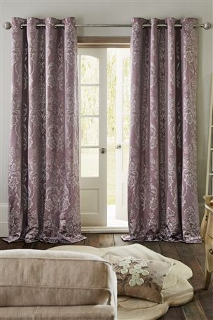 Buy Mauve Metallic Damask Eyelet Curtains from the Next UK online shop