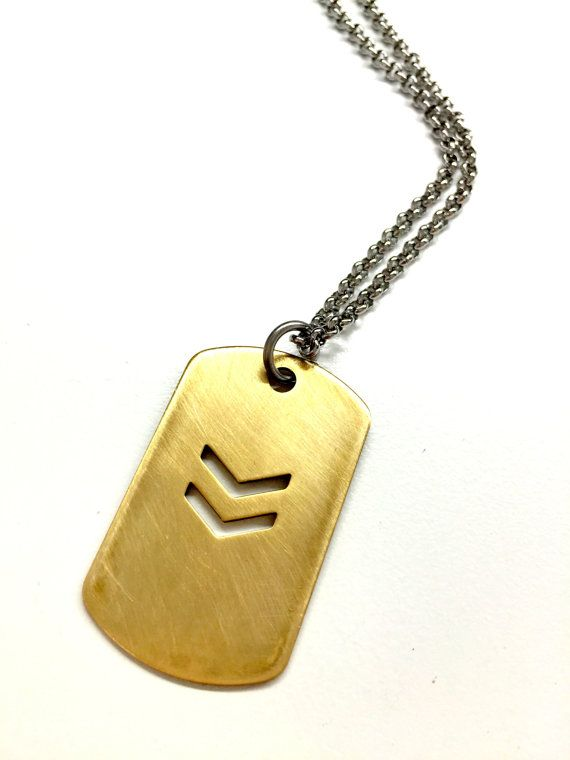 Cool Mens Necklace Military Dog Tag Chevron By