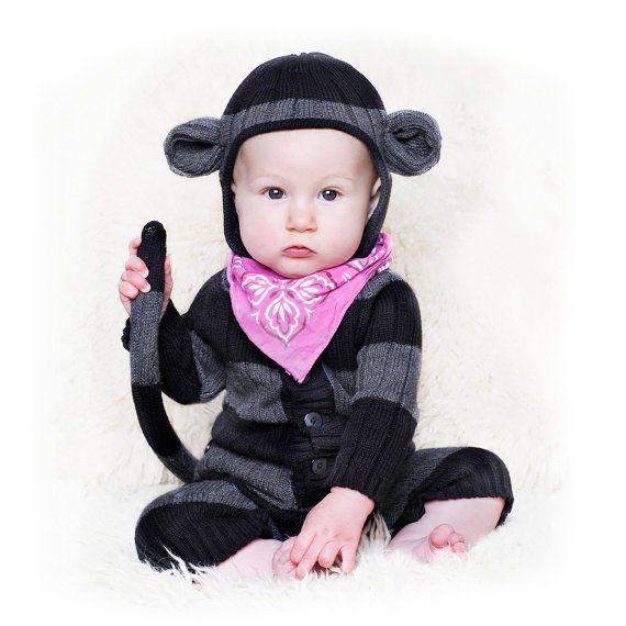 MONKEY SUIT for Baby and Toddler - Handmade Woven Cotton Animal Romper - Designer Spencer Hansen for Blamo Toys