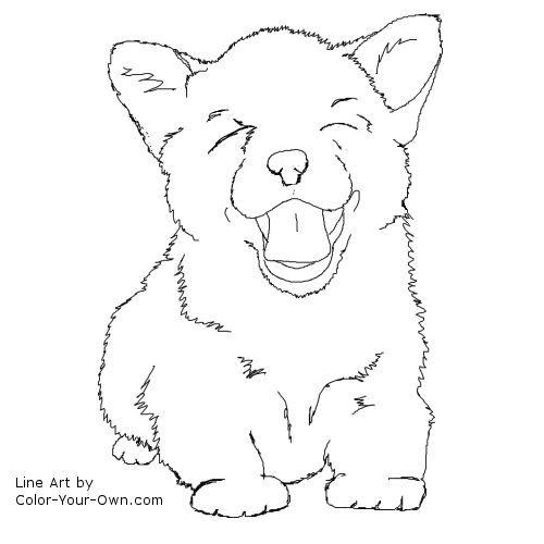 Corgi PUppy Line Art