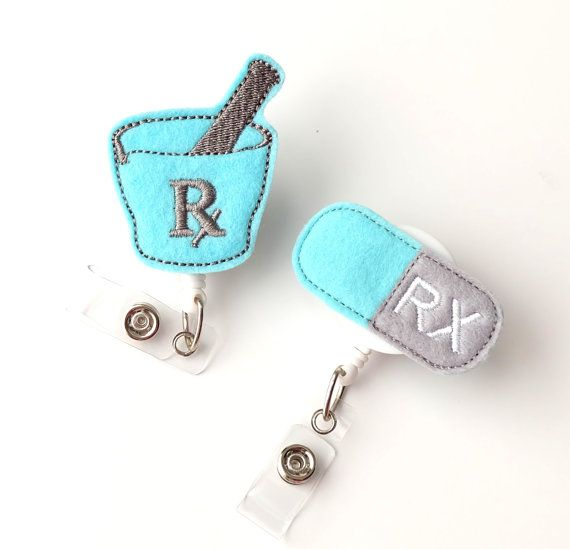 Pharmacist Gift Set Felt Badge Reels Cute Retractable Badge Holders Pharmacy Technician Gifts by BadgeBlooms on Etsy