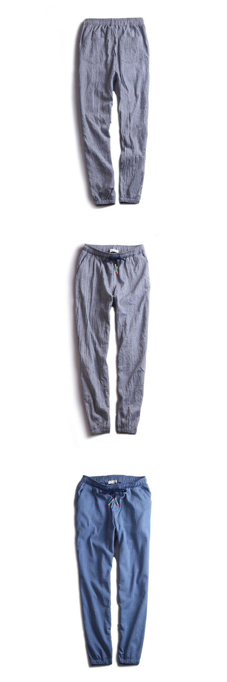 New designer brand pants men linen harem trousers men solid casual trousers mens cotton ankle-length pants male elastic pantalon