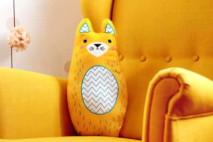 KITTY/CAT big, soft stuffed cushion  #cushion #pillow #toy #baby #kidsroom #kitty #cat #illustration #design  #cute #animal #design #nursery