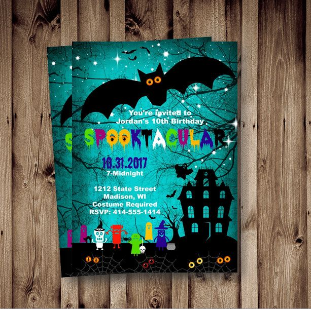 Halloween birthday Invitation kids spooky Halloween Birthday invitation scary spooktacular printable blue printable boy or girl spooktacular by PinkPopRoxx on Etsy https://www.etsy.com/listing/249836969/halloween-birthday-invitation-kids