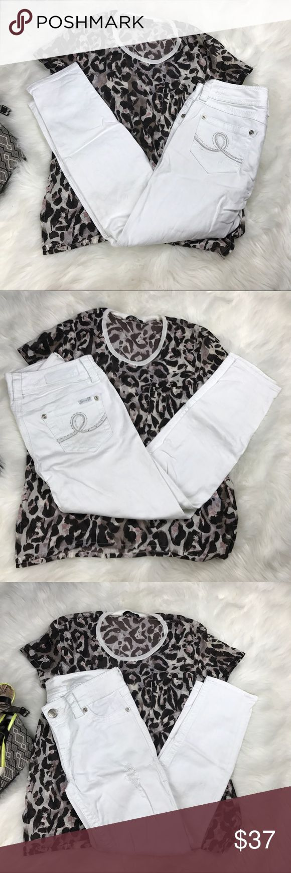 "SEVEN 7 white destroyed ankle skinny jeans Gently worn Seven 7 white destroyed ankle skinny jeans, 9"" rise, 26"" length. Great for the summer! NWT Buttersoft camo tank top, PLUS SIZE, super soft and comfortable. Wear with jeans or shorts & sandals.   Pre-Loved  • BUNDLE FOR 10% OFF • NO TRADES • 5 star rating • Fast Shipper • 200+ sales  • Smoke free home • 100% authentic   Tags: Seven, 7, jeans, white pants skinny jeans Seven7 Jeans Skinny"